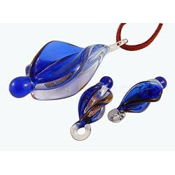 Silver/Gold Sand Foil Glass Pendant  Set, Royalblue, Pendant : 27mm wide, 64~67mm long,(X-SLSP130Y-5)
