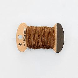 Corde de chanvre, chaîne de chanvre, ficelle de chanvre, 3 plis, pour la fabrication de bijoux, marron, 2mm; 10m / board(OCOR-WH0016-06J)