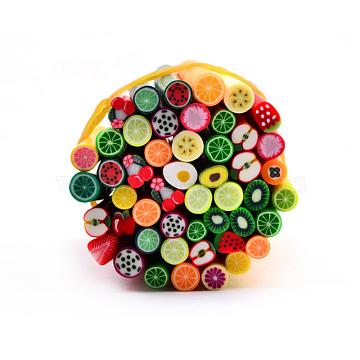 Полимерная глина украшения искусства ногтя, Модные уходу за ногтями, трубы без отверстий , фрукты, разноцветные, 5 см(MRMJ-R052-130C)