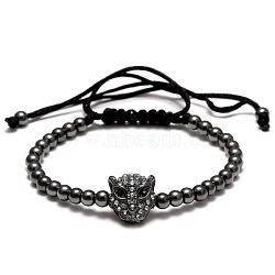 Bracelets ajustables en laiton à billes rondes tressées pour hommes, léopard tête alliage zircone cubique, gunmetal, 120 mm ~ 270 mm(BJEW-N0001-076C)