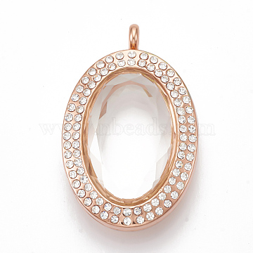 Alloy Magnetic Locket Pendants, with Rhinestone and Glass, Oval, Faceted, Crystal, Rose Gold, 46x30x16mm, Hole: 4mm; Inner Measure: 25x5mm(PALLOY-T052-26RG)