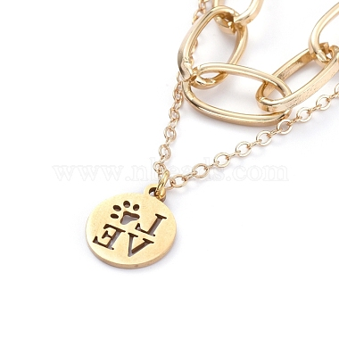 304 Stainless Steel Paperclip Chains Pendants Tiered Necklaces(NJEW-JN02765-03)-3