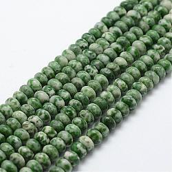 Chapelets de perles en jaspe à pois verts naturels, rondelle, 6x4mm, trou: 1mm; environ 96~97 pcs/chapelet, 15.3'' (39 cm)(G-G665-13-6x4mm)