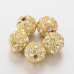 Perles de strass en alliage, Grade a, rond, or, 12mm, Trou: 1.5mm(X-ALRI-Q212-4)