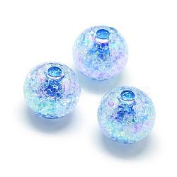 Perles acryliques craquelées, couleur ab, couleur à l'intérieur , rond, dodgerblue, 16mm, trou: 4 mm; environ 225 pcs / 500 g(MACR-S825-16mm-F)