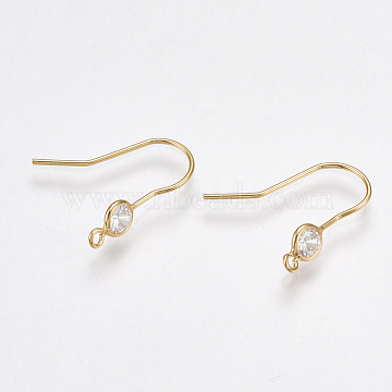 Brass Earring Hooks, with Cubic Zirconia, Nickel Free, Real 18K Gold Plated, 18x4.5mm, Hole: 1mm, Pin: 0.8mm(X-KK-T038-249G)