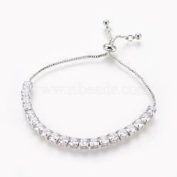 """Bracelets bolo en laiton, Bracelets coulissants, avec zircons, carrée, clair, platine, 1-3/8""""~2-7/8"""" (3.5~7.2 cm)(BJEW-P232-01P-02)"""