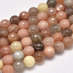Grade AA Natural Sunstone Faceted Round Beads Strands, 4mm, Hole: 1mm; about 93pcs/strand, 15.5inches