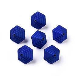 Perles acryliques de style caoutchouté, Toupie, darkblue, 18x16.5x15mm, Trou: 1.5mm(X-MACR-Q195-X06)