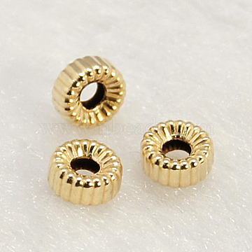 Yellow Gold Filled Corrugated Beads, 1/20 14K Gold Filled, Cadmium Free & Nickel Free & Lead Free, Rondelle, 4x2mm, Hole: 1mm(KK-G157-4x2mm-3)