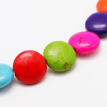 plats ronds synthèse turquoise brins de perles, teints, couleur mélangée, 10x5 mm, trou: 1 mm; environ 42 perle / brin, 15.7(X-TURQ-I022-10x5mm-06)