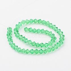 Chapelets de perles en verre d'imitation cristal autrichien, grade AAA, limegreen, 4x4mm, trou: 1mm; environ 50 pcs/chapelet(G-PH0007-15-4mm)