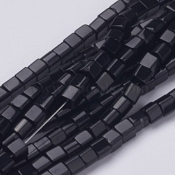 """4~5 mm cube perles de verre noir brins, Trou: 1mm, Environ 75~78 pcs/chapelet, 13~14""""(X-GS4mm-C27)"""