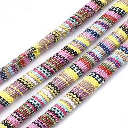 Cordes en tissu de style ethnique, avec cordon en coton à l'intérieur, colorées, 6.5~7x5 mm; environ 100 m / bundle(OCOR-S034-34)