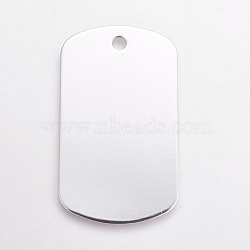 Pendentifs en aluminium, pet tag, rectangle, argenterie, 50x29x1mm, Trou: 3.5mm(ALUM-WH0007-03B)