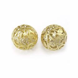 Perles rondes en filigrane, fer, or, 20mm, Trou: 2.5mm(X-E144Y-G)