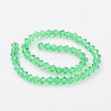 4mm LimeGreen Bicone Glass Beads