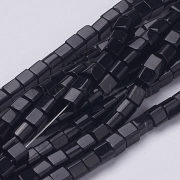 Кубические черные стеклянные бусины, отверстие : 4~5 мм, около 1 шт / нитка, 75~78(X-GS4mm-C27)