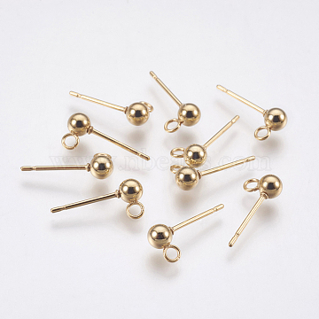 304 Stainless Steel Stud Earring Findings, with Loop, Round, Golden, 15x6mm, Hole: 1.5mm, Ball: 3mm, Pin: 0.8mm(X-STAS-G174-18G)
