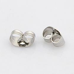 304 écrous en acier inoxydable, boucles d'oreille, couleur inox, 5x3.5x2 mm, trou: 1 mm(STAS-N019-11)