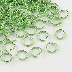 fil d'aluminium Anneaux ouvert, lawngreen, Jauge 20, 6x0.8 mm; diamètre intérieur: 5 mm; sur 430 pcs / 10 g(X-ALUM-R005-0.8x6-08)