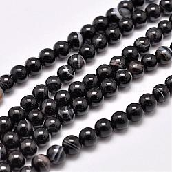 Natural Striped Agate/Banded Agate Bead Strands, Dyed & Heated, Round, Grade A, Black, 6mm, Hole: 1mm; about 63pcs/strand, 14.7inches(375mm)