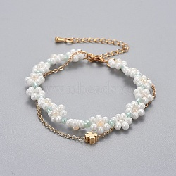 """Bracelets en laiton multi-brins, avec des perles de rocaille en verre et des chaînes de câbles, trèfle, colorées, 13-1/4""""~14-5/8"""" (33.4~37.2cm); 1~1.5mm(BJEW-JB04291-01)"""