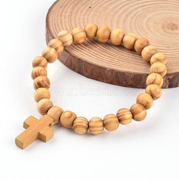 Cross Wood Beaded Stretch Charm Bracelets, BurlyWood, 2-1/8 inches(5.5cm)(X-BJEW-JB02219)