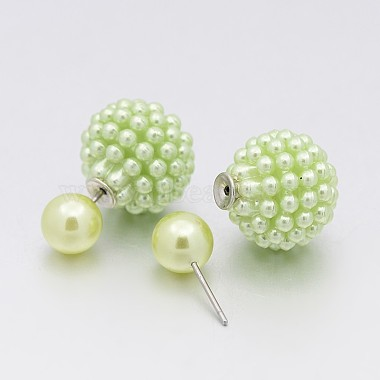 New Fashion Double Faced Acrylic Berry Ball Bead Ear Studs(EJEW-O012-M08)-2