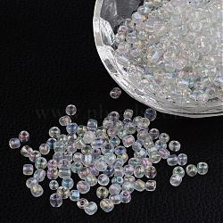 6/0 Transparent Rainbow Colours Round Glass Seed Beads, Clear, Size: about 4mm in diameter, hole:1.5mm, about 495pcs/50g