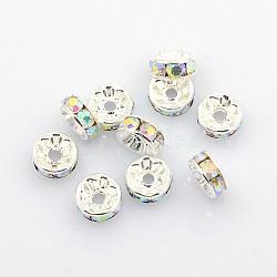 laiton strass perles d'espacement, Grade A, ab couleur, plaqué argent, rondelle, clair ab, taille: environ 8 mm de diamètre, 3.5 mm d'épaisseur, trou: 2 mm(X-RB-A004-4)