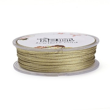 Polyester Braided Cord, with Metallic Cord, Dark Khaki, 1mm, about 32.8 yards(30m)/roll(OCOR-G006-02-1.0mm-46)