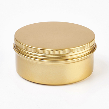 Round Aluminium Tin Cans, Aluminium Jar, Storage Containers for Cosmetic, Candles, Candies, with Screw Top Lid, Golden, 8.3x3.8cm; Capacity: 150ml(5.07 fl. oz)(CON-L010-03G)