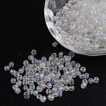 6/0 Transparent Rainbow Colours Round Glass Seed Beads, Clear, Size: about 4mm in diameter, hole:1.5mm, about 495pcs/50g(X-SEED-A007-4mm-161)
