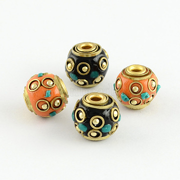 Round Handmade Indonesia Beads, with Alloy Antique Bronze Metal Color Cores, Mixed Color, 12x13mm, Hole: 3mm(IPDL-S003-M)