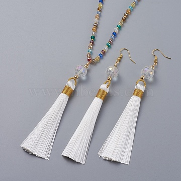Polyester Tassel Pendant Jewelry Sets, Pendant Necklaces and Dangle Earrings, with Glass Beads and Golden Tone Brass Earring Hooks, White, 31.5 inches(80cm), 120mm, Pin: 0.6mm(SJEW-JS01063-03)