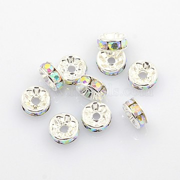 Brass Rhinestone Spacer Beads, Grade A, AB Color, Silver Color Plated, Rondelle, Clear AB, Size: about 8mm in diameter, 3.5mm thick, hole: 2mm(X-RB-A004-4)