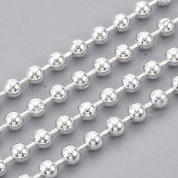chaînes à billes en laiton soudé, avec bobine, plaqué argent, 4 mm(X-CHC-S008-003B-S)