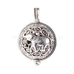 Pendentifs médaillon en alliage, avec magnétique, plat et circulaire avec éléphant, argent antique, 43x35x18mm, Trou: 7x4mm(X-PALLOY-Q331-34AS)