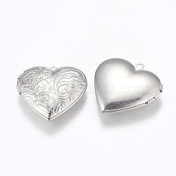 304 подвески из нержавеющей стали Locket, фото подвески рамка для ожерелья, сердце, цвет нержавеющей стали, 29x29x7 мм, отверстия: 2 mm; Внутренний размер: 16.5x21.5 mm(STAS-E144-014P)
