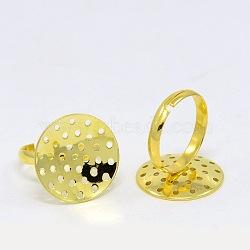 Jarret d'anneau réglable en laiton, sans plomb, dorée, taille: anneau: 19 mm de diamètre, 3 mm de large; plateau: 20 mm de diamètre(EC163-G)