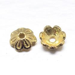 chapeaux de perles en argent massif plaqué or à multiples pétales, fleur, or, 5x2 mm, trou: 1 mm; environ 181 pcs / 20 g(STER-M100-09)