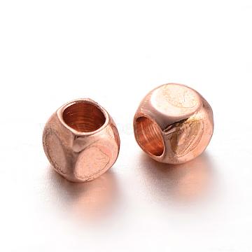 Cube Brass Spacer Beads, Rose Gold, 3x3x3mm, Hole: 2mm(X-KK-L129-46RG)