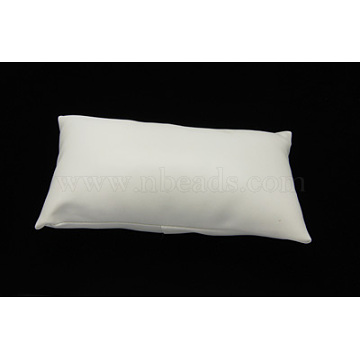 Leather Pillow Jewelry Bracelet Watch Display, White, Size: about 18cm long, 10cm wide, 6cm thick(X-BDIS-H015-1)