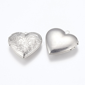 304 Stainless Steel Locket Pendants, Photo Frame Charms for Necklaces, Heart, Stainless Steel Color, 29x29x7mm, Hole: 2mm; Inner Size: 16.5x21.5mm(STAS-E144-014P)
