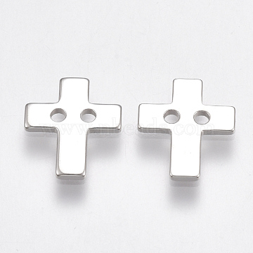 Brass Buttons, 2-Hole, Cross, Nickel Free, Real Platinum Plated, 12x10x1mm, Hole: 1mm(KK-T038-184P)