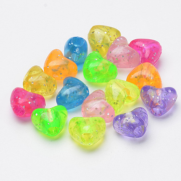 12mm Mixed Color Heart Acrylic Beads