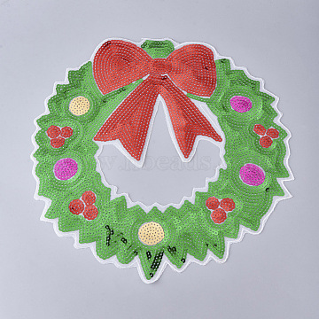 Computerized Embroidery Cloth Iron on/Sew on Patches, Costume Accessories, Paillette Appliques, Christmas Wreath, for Christmas, Colorful, 290x295x0.7mm(X-DIY-L031-001)
