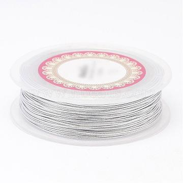 Metallic Cord, Polyester Thread Cords, Silver, 1mm, about 27.34 yards(25m)/roll(OCOR-D006-08)