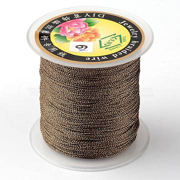 Round Metallic Cord, 9-Ply, Camel, 0.8mm, about 65.61 yards(60m)/roll(MCOR-L001-0.8mm-07)